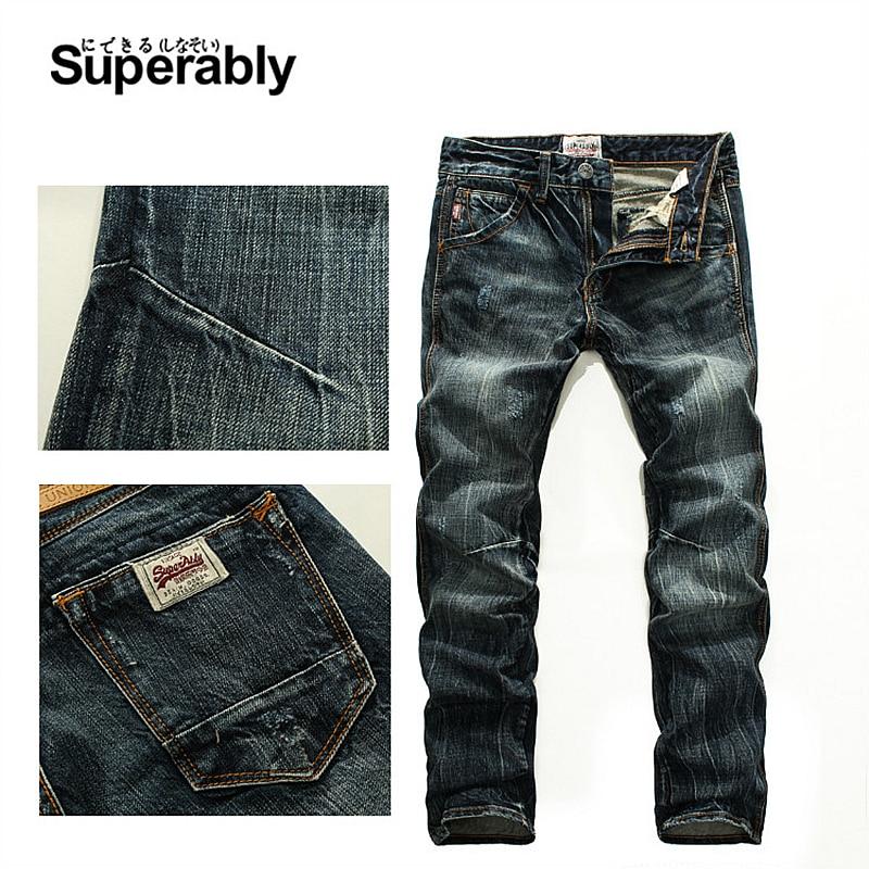 Vintage Men`s Dark Jeans Mid Stripe Slim Straight Denim Pants Male high Quality Superably Brand Jeans Men 28-38 206-1