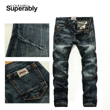 Vintage herren Jeans Mid Stripe Dünne Gerade Jeans Männliche hochwertigen Superably Marke Jeans Männer 28-38 206-1