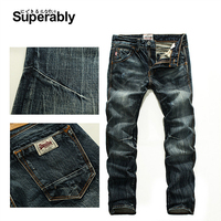 Vintage Men`s Dark Jeans Mid Stripe Slim Straight Denim Pants Male high Quality Superably Brand Jeans Men 28 38 206 1