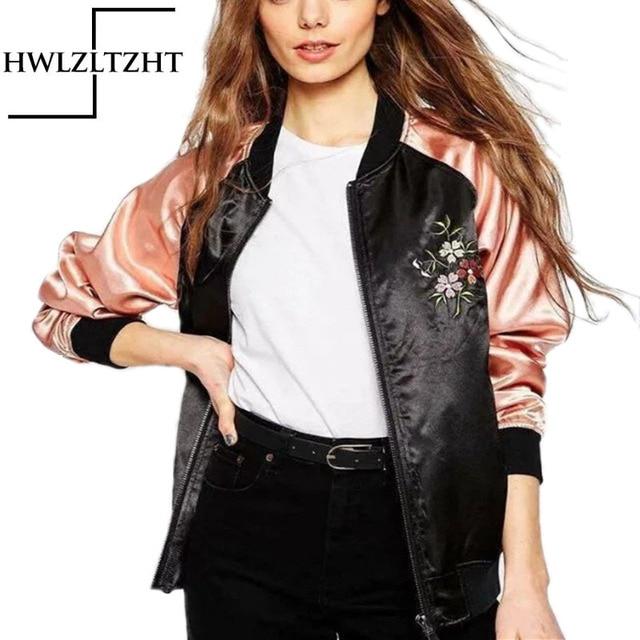 New Fashion Elegant Eagle Embroidery Women's Bomber Jacket Pocket Zipper Jaqueta Feminina Autumn Casaco FemaleJacket
