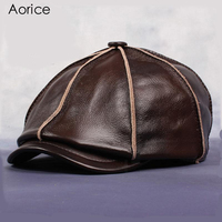 HL058 Real Genuine Cow Leather Hat Cap Headwear Headgear Cattlehide Cowhide Warm Winter Cotton Padding