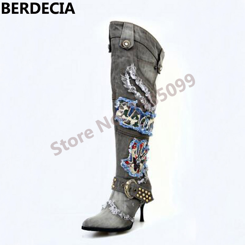 Winter Cool Denim Boots Street Style Knee High Fashion Pointed Toe Thin High Heel Print Decoration Motorcycle Jeans Boots