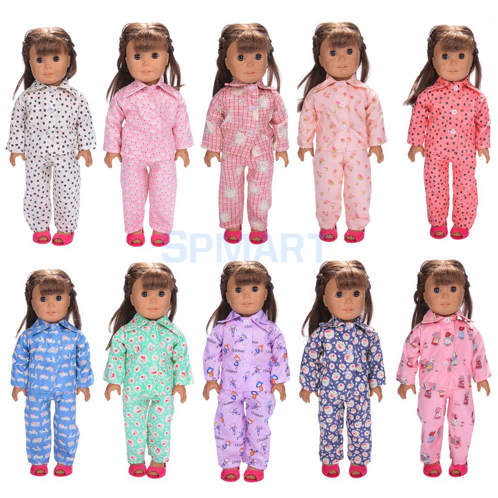"Doll Pajamas Nightgown Sleepwear Clothes Outfit Top & Pants Set for 18"" inch American Girl Doll"