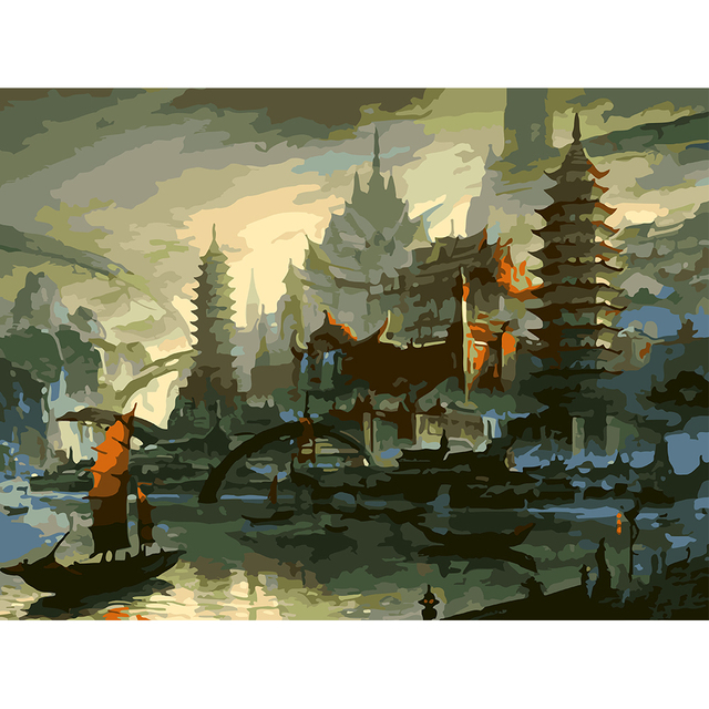 Diy Hand Painted Oil Painting By Numbers Kits Landscape Heaven Palace  Printing Canvas Art Wall Mural Part 51