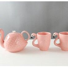 Мультфильм Фламинго чайник чашка кружка набор Рождество День Благодарения подарок Горячая Распродажа