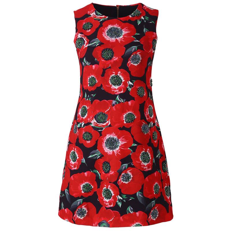 Red RoosaRosee 2019 Designer Summer Red Floral Print Beads Women Vest Black Jacquard Dresses Vestido Robe