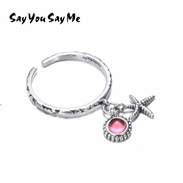 925 Sterling Silver Starfish Rings Wholesale Wedding&Engagement Cute Rose Pearl