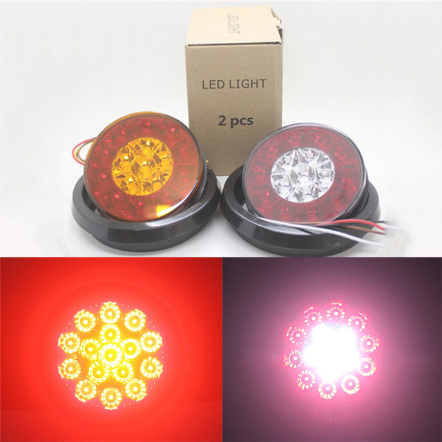 2Pcs 16 LED Car Rear Tail Lights 4 Inch Round Lamp with Rubber Grommet 12V 24V Truck Trailer Stop Light Turn Signal Reverse Lamp