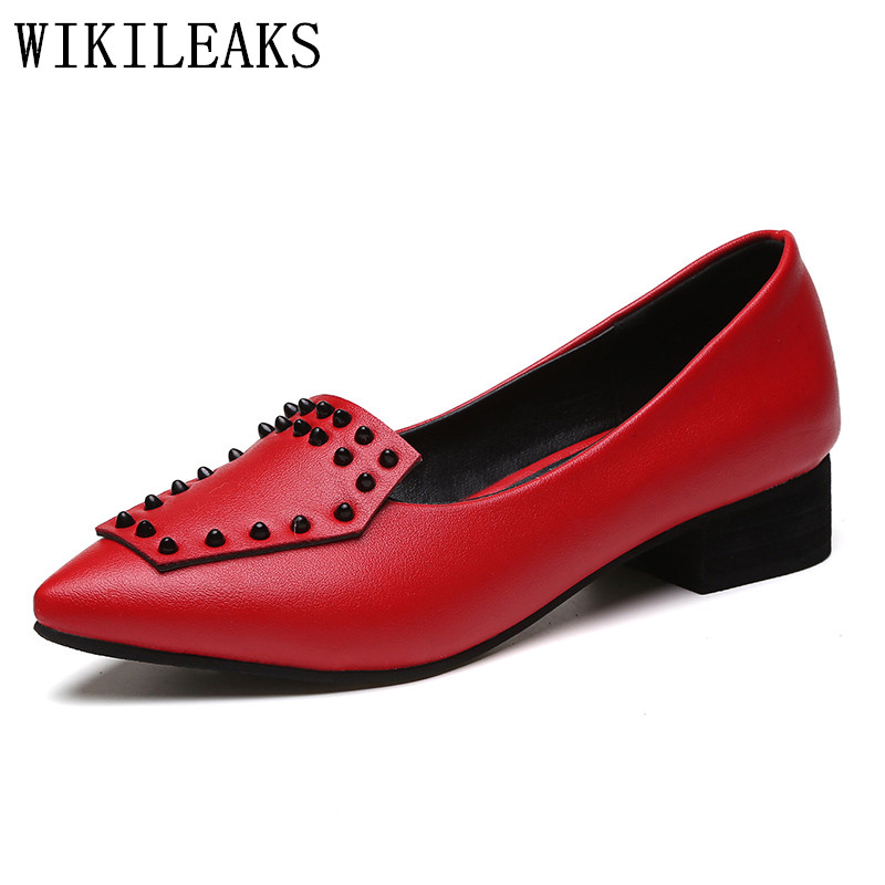 2017 designer women boat shoes luxury brand rivets slip on loafers red leather flats zapatillas mujer casual ladies shoes black