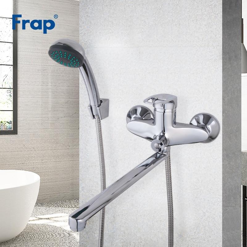 Grifos de bañera FRAP, grifos de ducha, baño, bañera, bañera, mezclador de agua, ducha, latón, cascada, conjunto de cabezal de ducha