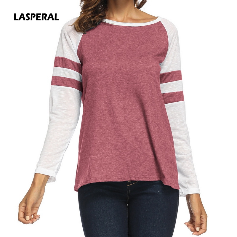 LASPERAL Frauen Striped Splicing Baseball T-shirt 2019 Frühling Herbst O Neck Langarm Top Tees Alle Abgestimmt T Shirt Plus größe 5XL
