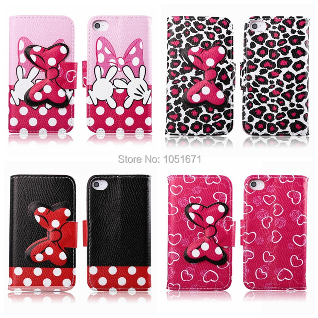 buy popular 14e70 1c040 US $22.99 |Case For iPhone 4 4s PU Leather Case Mickey Minnie Mouse BowKnot  TPU Cover Flip Wallet Case for 4s 5pcs/lot free shipping on Aliexpress.com  ...