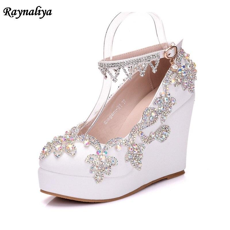 New 2018 Fashion Round Toe Rhinestone Women Pumps 11cm Wedge Heels Dress Shoes Woman Party Wedding Pumps Big Size XY A0050