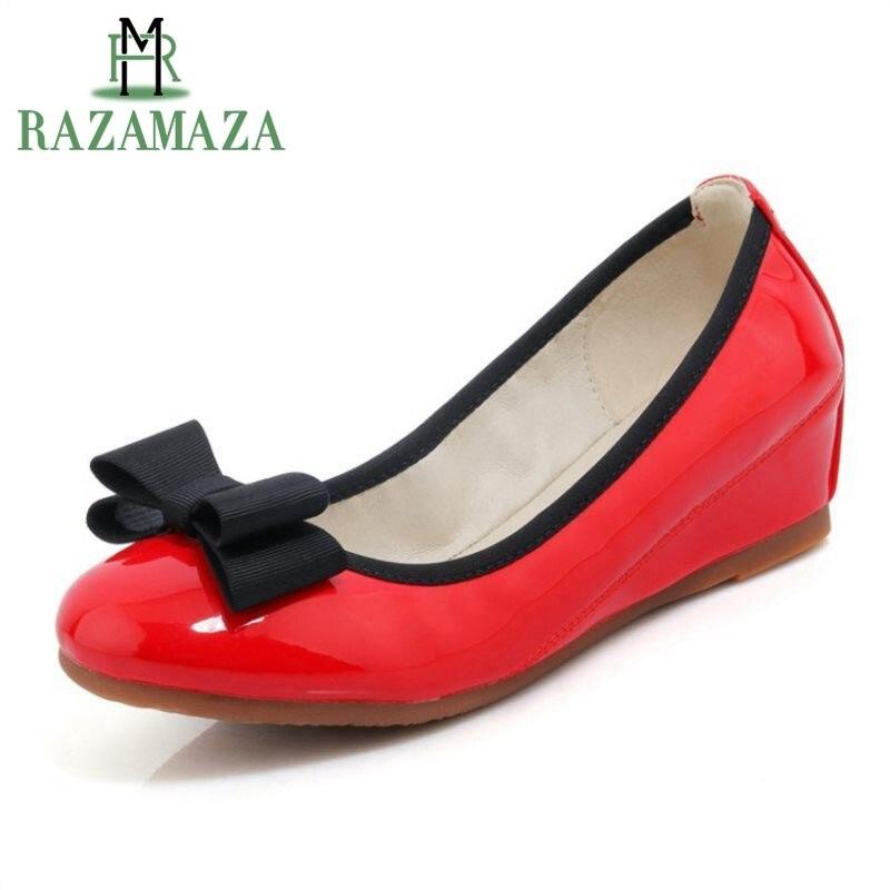 Rond Bout En 34 Noir Chaussures Appartements Véritable Razamaza Cuir gris 40 Femmes Lady ivoire Bowknot Office Verni rouge Taille tnvzf