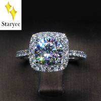 Lab Diamond Halo Ring 18k White Gold Women Lover Couple Anniversary Romantic Propose Engaged Wedding Moissanite Accent Side Ring