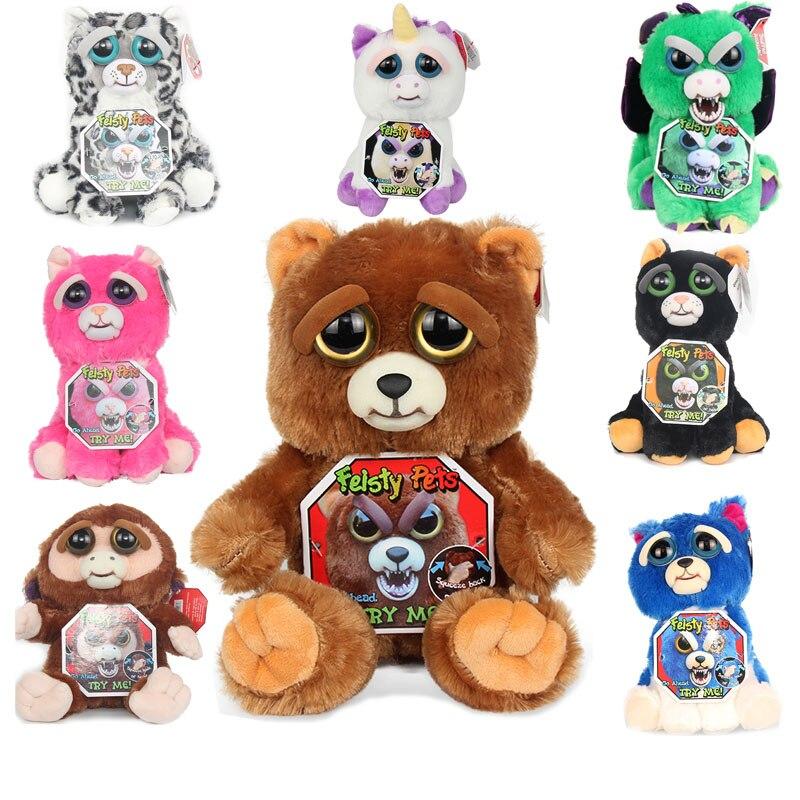 Peluche Feisty Pets Cat Plush Stuffed Animals Toys Soft Change Scary Face Expression Doll For Children Birthday Funny детская плюшевая игрушка oem 1 kwaii hamtaro peluche pelucia trotting hamtaro plush toys
