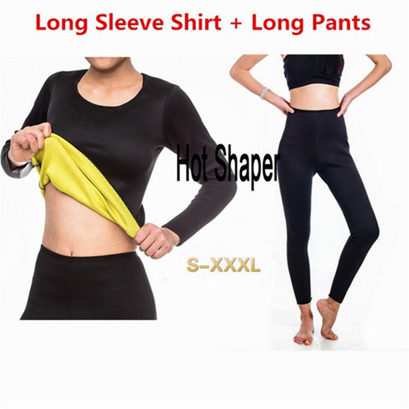 Neoprene Hot Shaper Long Sleeve TOP + Legging Sweat Sauna Slimming Women Fitness Bodyshape Shapewear Tanks Vest Pants