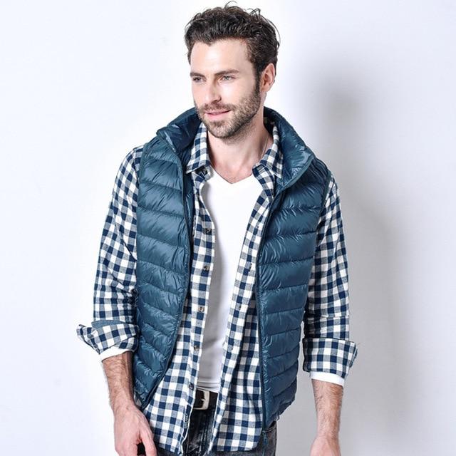 Ultra Light Down Vest Men White Duck Down Sleeveless Jacket Plus Size 3XL Winter Warm Stylish Waistcoat Fashion Casual Chaleco