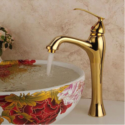 High Quality New Arrivals Golden Brass Basin Faucets Bathroom Faucet Sink Faucet Basin Mixer Tap Deck Mounted Water Tap
