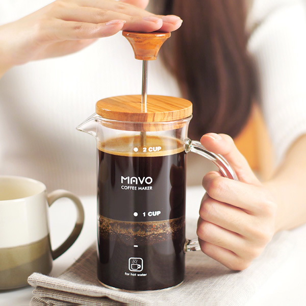 Olive wood coffee pot glass French pot Home coffee machine French filter pot Heat resistant Tea maker portable coffee maker manual coffee making machine coffee filter hand travelling french press pot 350 pcs metal filter paper