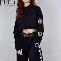 Fashion 2017 Hoodies Sweatshirt Women Harajuku Streetwear Holes Cropped Sweatshirt Autumn Winter Black Casual Sweatshirt Women
