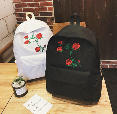 45881a58bb by dhl or ems 100pcs Harajuku Rose Embroidery Backpack White Black Women  Travel Backpack Students Canvas Double Shoulder Bag