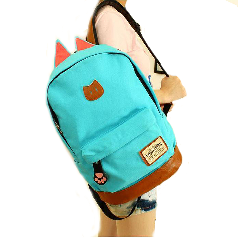 2017 Campus School bag girls backpack women travel bag young men canvas backpack bags cat ears cartoon package442 travel tale fashion cat and dog capsule pet cartoon bag hand held portable package backpack