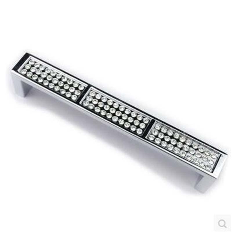 96mm shiny silver dresser handle pull chrome cupboard drawer knob glass crystal kitchen cabinet furniture handles