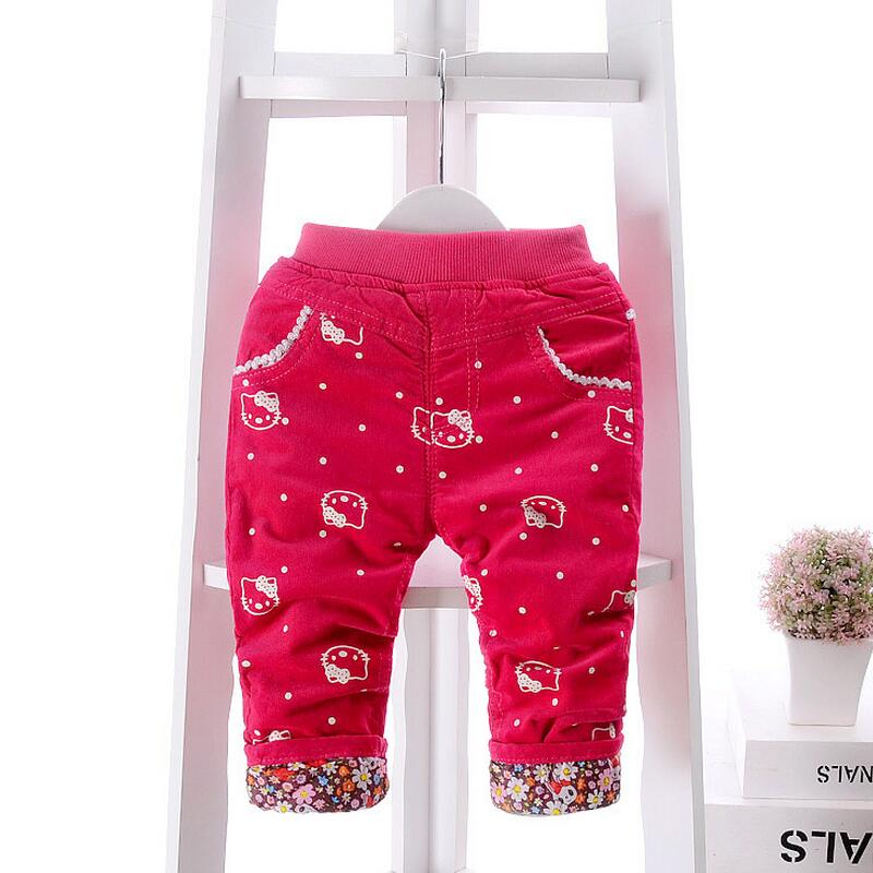 ФОТО ROMIRUS  New arrival Baby Pants Winter Thick Warm Baby Trousers 0-2 year Cartoon Style Baby Girl Pants