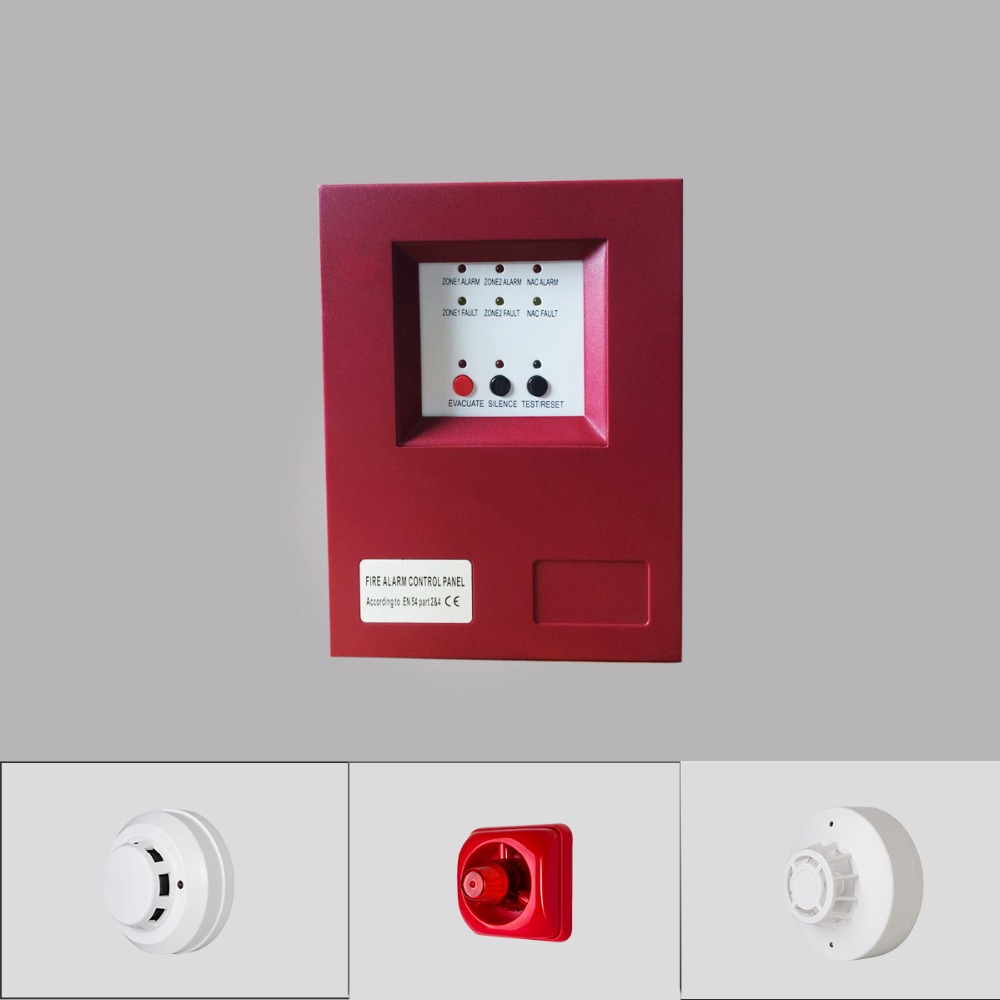 Metal Box 2 Zone Fire Alarm System Fire Alarm Control Panel Smoke Alarm For Home School Shop