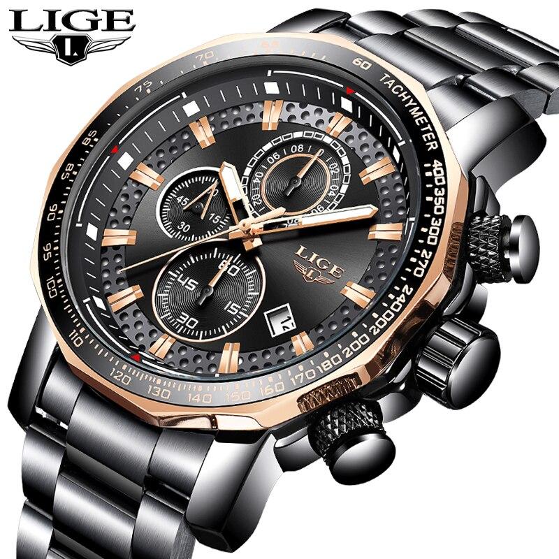 LIGE Os Homens Assistir Top Marca de Luxo Completa Aço relógio de Pulso Da Forma Dos Homens Do Esporte Do Cronógrafo de Quartzo Relógio À Prova D' Água Relogio masculino