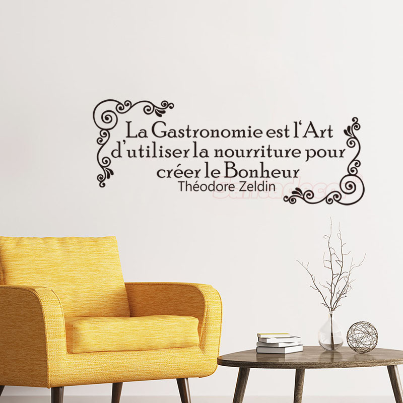 Stickers La Gastronomie Est Lart dutiliser Nourriture Pour Le Bonheur Vinyl Wall Decal Theodore Zeldin Quote Home Decor