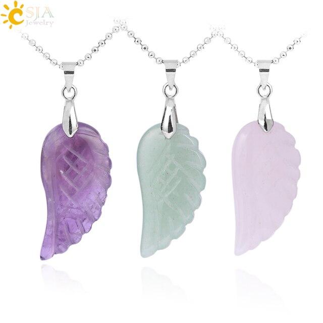 CSJA Natural Gem Stone Angel Wing Necklaces & Pendants Purple Pink Rock Crystal Lapis Lazuli Opal Green Aventurine Jewelry E768