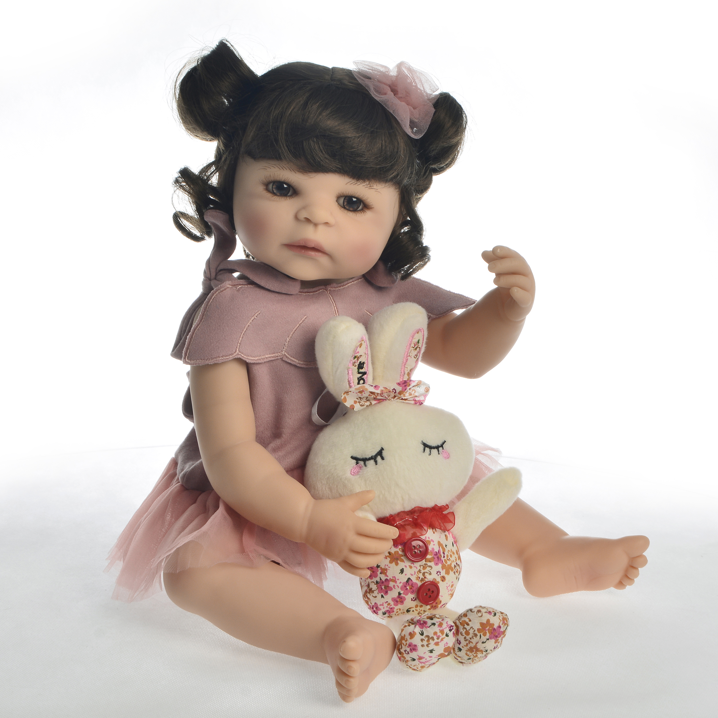 Fashion 22 Inch Realistic Girl Baby Doll Handmade Curly Hair Babies Reborn Boneca Silicone Kid Holiday Gift House Toy Can BathFashion 22 Inch Realistic Girl Baby Doll Handmade Curly Hair Babies Reborn Boneca Silicone Kid Holiday Gift House Toy Can Bath