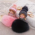 Cute MONCHICHI Christmas Hat Genuine Rabbit Fur Pompom Keychain Pendant For Keyring Car Bag Purse Charms Ornament Lucky Product