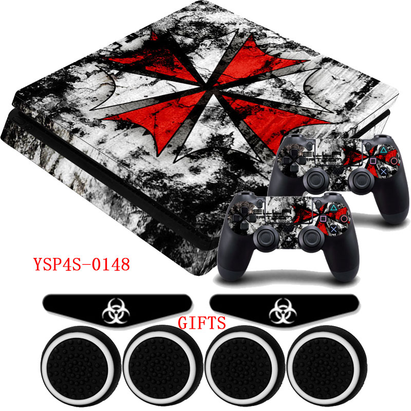 все цены на Skin PS4 Slim Console Resident Evil Customized Vinyl Skin Decal Sticker &2x Controller Films for Dualshock 4 PlayStation 4 Slim