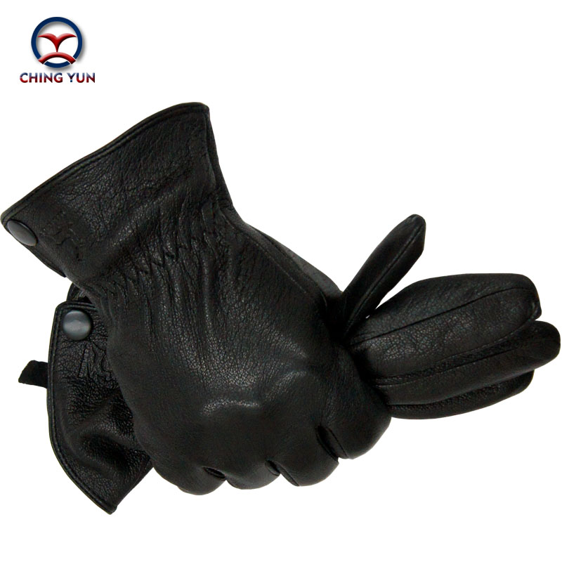 Winter Man Deer Skin Leather Gloves Male Warm Soft Men's Arm Sleeve Black Men Mittens Imitate Rabbit Fur 70% Wool Lining-03