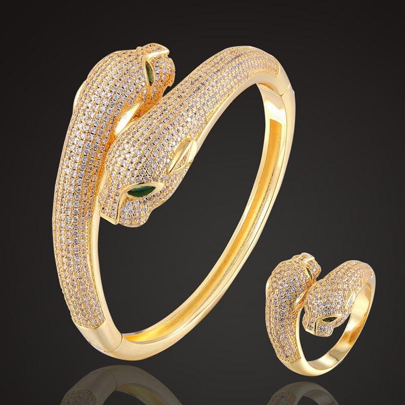 Zlxgirl plein cubique zircon léopard Animal bracelet avec anneau de mariage bijoux ensembles parfait couleur or nuptiale amour couple bracelet ensemble