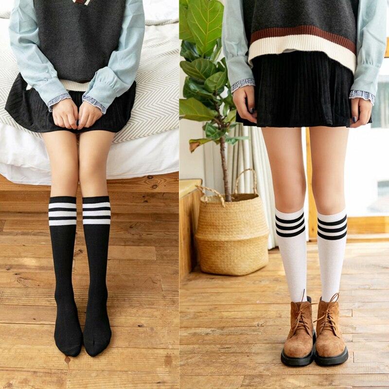Korean Long Women Cotton Socks Girls Socks Cotton Striped Socks Winter Hip Hop Warm Knee Socks Harajuku Socks White Socken Sox
