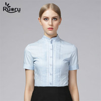 Ruoru Stand Collar Lace Women Body Shirt Blouse Lace Tops European Style Blouses Plus Size Chemise
