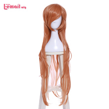L-email wig LOL Cosplay Miss Fortune Wigs Star Guardian 100cm Long Orange Cosplay Wig Heat Resistant Synthetic Hair Perucas 2015 new hot sell lol new hero jinx 100cm long blue braid cosplay party hair wig free shipping