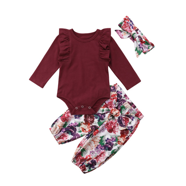 fd3f321c4790 3PCS Newborn Baby Girls 2018 Red Tops Solid Romper Floral Pants Headband  Outfits Autumn Set Clothes