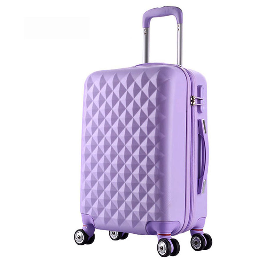 24 High quality Diamond lines Trolley suitcase /travell case luggage/Pull Rod trunk rolling spinner wheels/ ABS+PC boarding bag