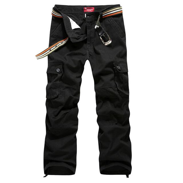 Los hombres pantalones de carga militar del ejército pantalón 100% algodón khaki/verde/marrón/negro tamaño grande 30-44 pantalones largos