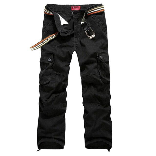 Men Cargo Pants Military Army Pant 100% Cotton Khaki/Green/Brown/Black Big Size 30-44 Long trousers