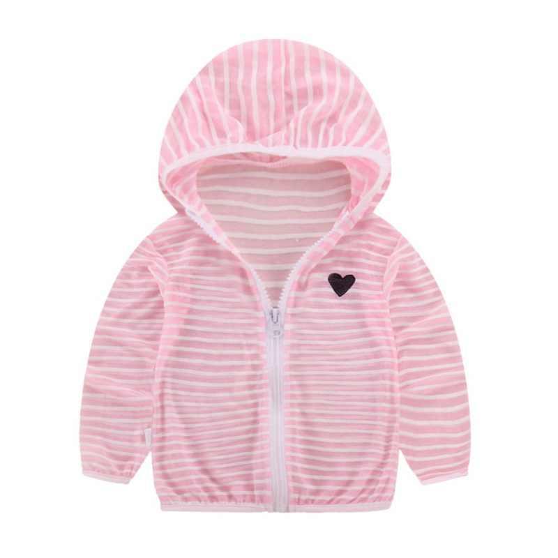 אופנה תינוק ילדי מעילי ילדה ילד פסים מזגן חולצה לנשימה שמש הגנה clothingA1