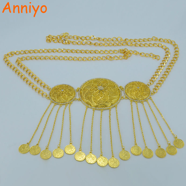 Anniyo 108cmturkey Coin Big Belt For Women Kurds Jewelry Gold Color