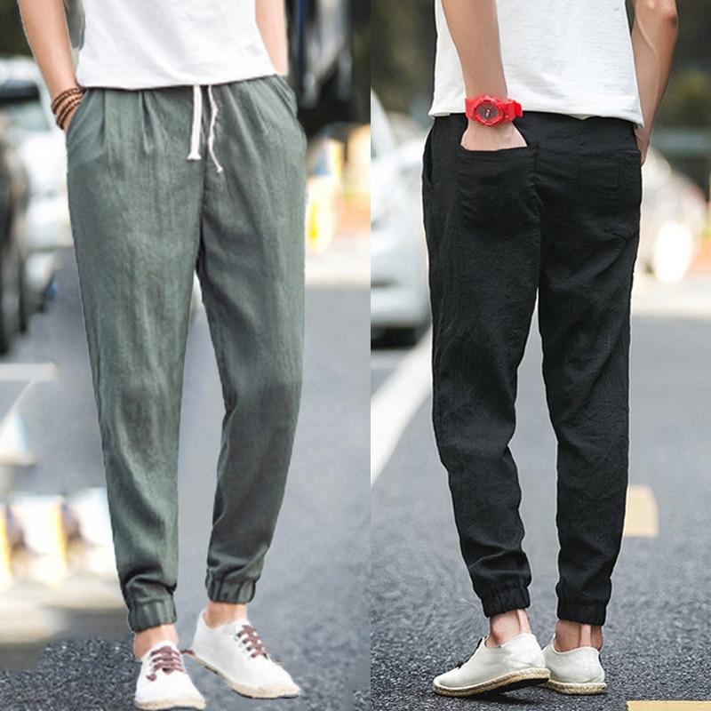 INCERUN Summer 5XL Retro Men Casual Pants Thin Cotton Straight Trousers Ankle-Length Elastic Waist Baggy Joggers Haren Hip Hop
