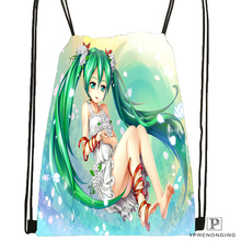 Custom Hatsune Miku Megurine Drawstring Backpack Bag Cute Daypack Kids Satchel (Black Back) 31x40cm#180531-03-37