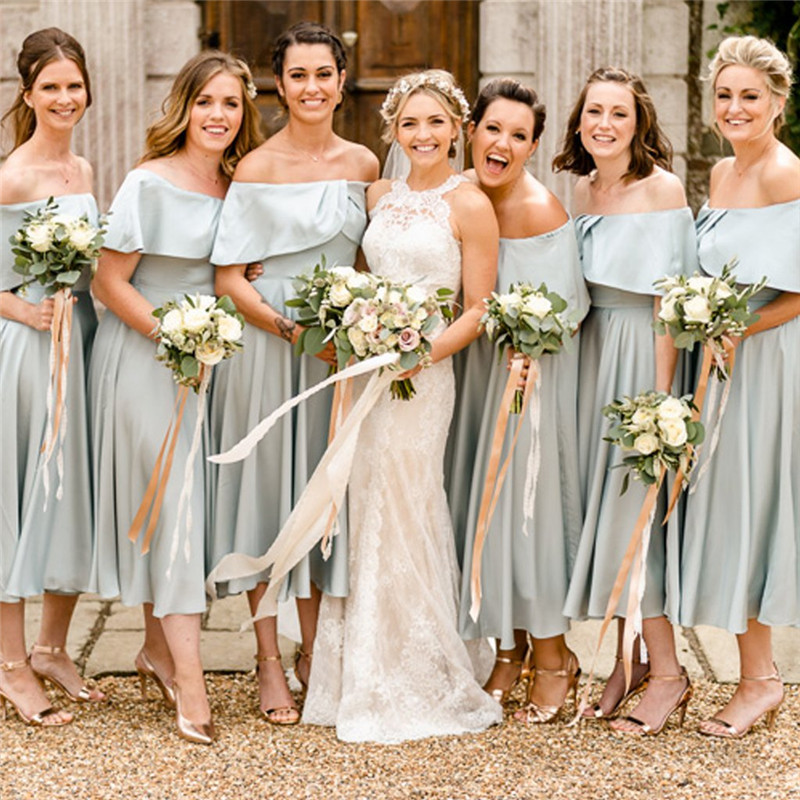 Country Style Chiffon   Bridesmaid     Dresses   Long 2019 A Line Wedding Guest   Dress   Tea Length Plus Size Country Maid of Honor Gowns